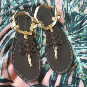 DVF Brown Gold Sandals SiZe 7 1/2